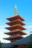 Ornate five-storey pagoda at Sensoji Temple in Tokyo, Japan. Senso–ji Temple is Tokyo's oldest temple and remaining an important center of worship stock photo