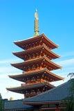 Ornate five-storey pagoda at Sensoji Temple in Tokyo, Japan. Stock Photo