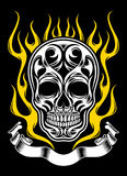 Ornate Flame Skull Tattoo. Fully editable vector illustration of ornate flame skull on isolated black background, image suitable for design elements, crest Stock Photos