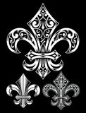 Ornate Fleur De Lis Vector Set Stock Photos