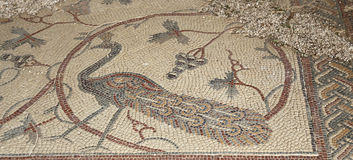 Ornate floor mosaics at the Basilica of Moses), Mount Nebo, Jordan Stock Photo