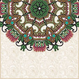 Ornate floral card with ornamental circle template Stock Images