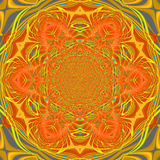 Ornate floral circle ornament orange yellow gold gray. Abstract geometric seamless background. Ornate floral circle ornament orange, yellow, gold and dark gray Stock Photo