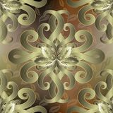 Ornate floral 3d vector seamless pattern. Ornamental autumn back. Ground. Hand drawn flowers, swirls, baroque style leaves. Beautiful decorative modern ornament royalty free illustration
