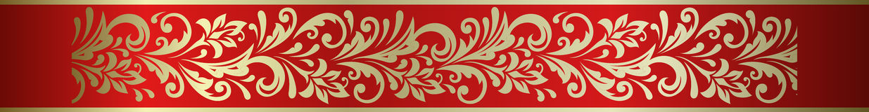 Free Ornate Floral Decorative Element Frame Border In Russian Hohloma Style. Stock Images - 81457554