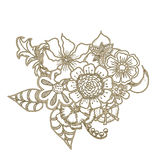Ornate floral drawing with flowers. Doodle sharpie background. template for card, poster, leaflet. Royalty Free Stock Photos