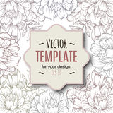 Ornate floral flyer with flowers. Doodle sharpie background. Royalty Free Stock Photo