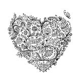 Ornate floral heart for your design Stock Photo