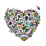 Ornate floral heart for your design Stock Photography