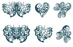 Ornate floral hearts and butterflies Royalty Free Stock Photo