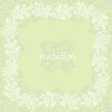 Ornate floral invitation card. Card template in calm green colors with floral ornaments Royalty Free Stock Photo
