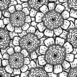 Ornate floral pattern with flowers. Doodle sharpie background. Black and white template for card, poster, leaflet. Stock Photos