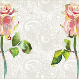 Ornate floral pattern with pink watercolor rose Stock Photo