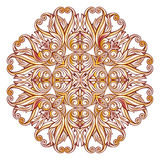 Ornate floral pattern on white. Abstract florid pattern in pastel rose pink and yellow shades on white background Stock Photos