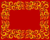 Ornate floral rectangle frame in golden colors on red background Stock Photos