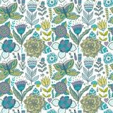 Ornate floral seamless texture, endless pattern with flowers Stock Photo