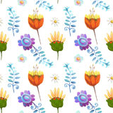 Ornate floral seamless texture, endless pattern with flowers. Royalty Free Stock Photos