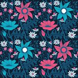 Ornate floral seamless texture, endless pattern with flowers. Se Stock Images