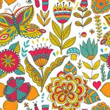 Ornate floral seamless texture, endless pattern with flowers Stock Photography