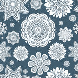 Ornate floral snowflakes seamless pattern Royalty Free Stock Photos