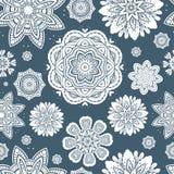Ornate floral snowflakes seamless pattern. / endless background Royalty Free Stock Photos