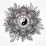 Ornate flower with Yin and Yang symbol. Stock Photography