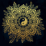Ornate flower with Yin and Yang symbol. Royalty Free Stock Image