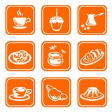 Ornate food symbols. Nine ornate food symbols on a white background Stock Photography