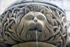 Ornate fountain depicting lion head. Royalty Free Stock Photos