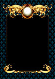 Ornate frame. Gold ornate frame with blue ornament, this  illustration may be use  as designer work Stock Photo