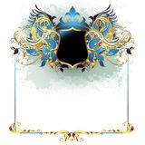 Ornate frame. Blue with shield, this illustration may be use as designer work Royalty Free Stock Images