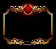 Ornate frame. Gold ornate frame on a black background, this illustration may be useful as designer work Royalty Free Stock Images