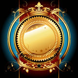Ornate frame. Gold ornate frame on the blue background,  this illustration may be useful as designer work Royalty Free Stock Photo