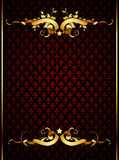 Ornate frame. Golden ornate floral frame on the red background with lilies , this  illustration may be useful  as designer work Royalty Free Stock Photo