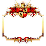 Ornate frame. Golden ornate frame with heraldry shield and ribbons, this illustration may be useful as designer work Royalty Free Stock Photography