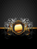 Ornate frame. Oval golden frame with floral elements, this illustration may be useful as designer work Stock Image