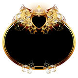 Ornate frame. With golden heart, this illustration may be useful as designer work Stock Photography