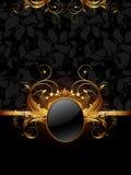 Ornate frame. Golden ornate frame on the ornamental black background, this illustration may be useful as designer work Stock Images