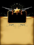 Ornate frame. With star of sherif and guns, this illustration may be useful as designer work Royalty Free Stock Image