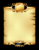 Ornate frame. Ornate golden frame with shield, this illustration may be useful as designer work Royalty Free Stock Photo