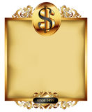 Ornate frame with dollar symbol Royalty Free Stock Images