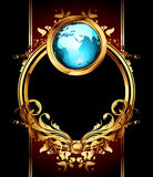 Ornate frame with globe Stock Photos