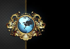 Ornate frame with globe Royalty Free Stock Photo