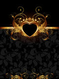 Ornate frame with golden heart Stock Photography