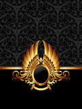 Ornate frame with golden label Royalty Free Stock Photos