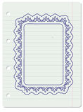 Ornate frame in notebook Stock Images