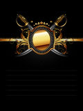 Ornate frame with sabers Royalty Free Stock Image