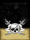 Ornate frame with skull and arms Royalty Free Stock Images