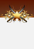 Ornate frame with star and sabers Stock Image