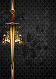 Ornate frame with sword Royalty Free Stock Image